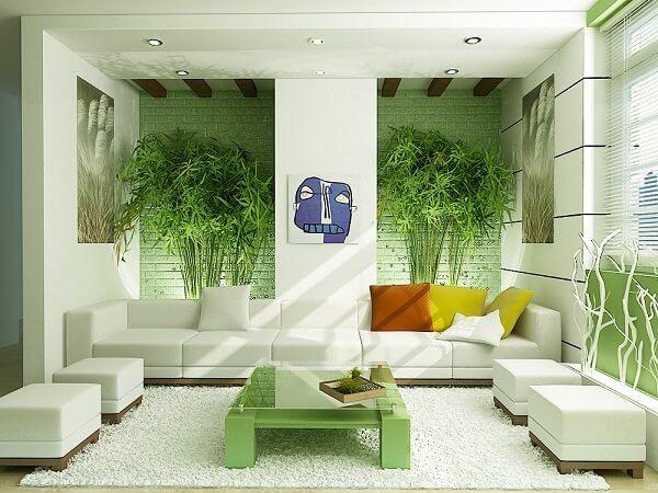 Nội thất phòng khách mùa hè xanh mát